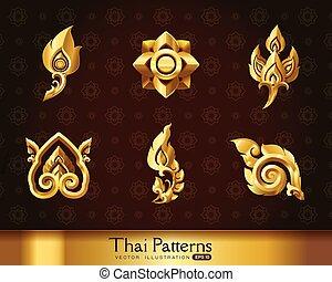 Thai art pattern vector set