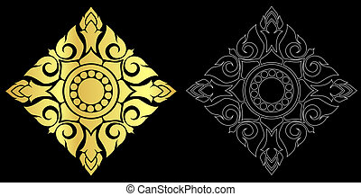 Thai art style ornament black color and out line