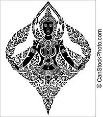 Thai arts female angel, vector pattern