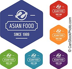 Thai asian food icons vector hexahedron
