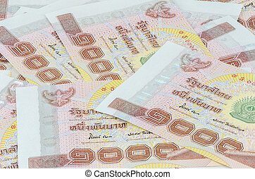 Thai baht bank note over isolated background