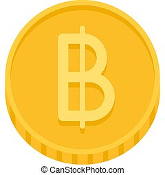 Thai baht coin icon, official currency of Thailand