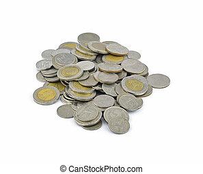 Thai Baht Coins on white background