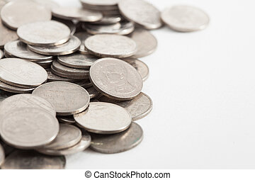 Thai Baht Coins on white paper background
