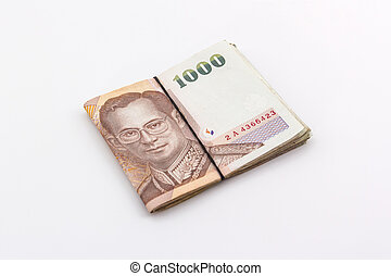 Thai Baht currency with bank note, Thai money.