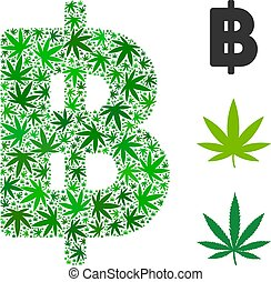 Thai Baht Mosaic of Marijuana - Thai Baht mosaic of weed...