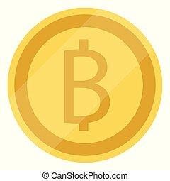 Thai baht symbol golden coin, money sign isolated on white...