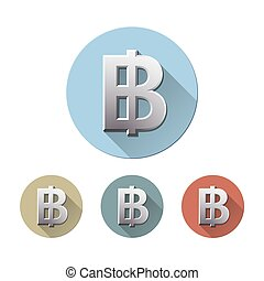 Thai baht symbol - Set of Baht symbol on colored circle flat...