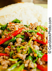 Thai Basil Fried Rice with pork
