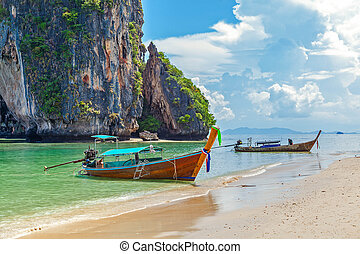 Thai boat on Railay beach in Krabi