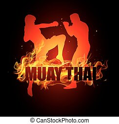 Thai boxer standing and fighting - Thai boxer standing with...