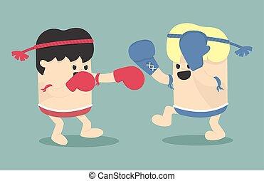 Thai boxing cartoon