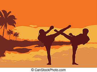 Thai boxing - Two men are engaged in Thai boxing on an ocean...