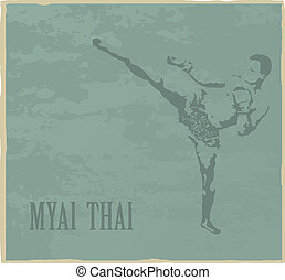 Thai boxing - Illustration with the image of the Thai boxer...
