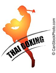 Thai boxing in boxing postures muay thai on white background