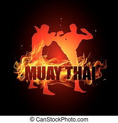 Thai boxing is high kicking to head with muay thai fire...