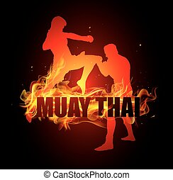 Thai boxing is kicking in knee post