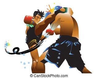 thai boxing kick - leg, art, man, thai, kick, fight, power,...