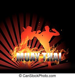 Thai Boxing with fighter on fire background