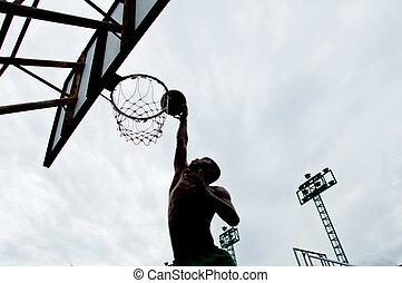 Thai boy is dunk basketball