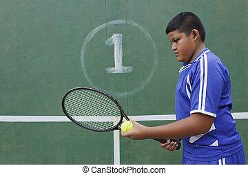 Thai boy tennis player