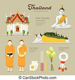 Thai Buddha and Temple with monks