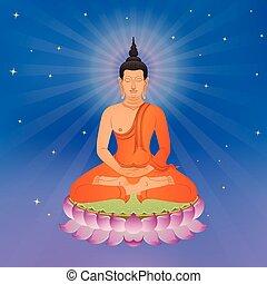 Thai Buddha On Lotus Flower
