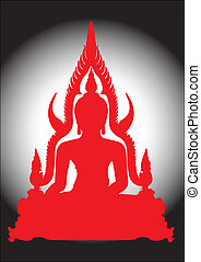 Thai Buddha. - Thai Buddha in red silhouette.