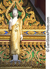 Thai Buddhist Temple Details - Statue of Buddha and...