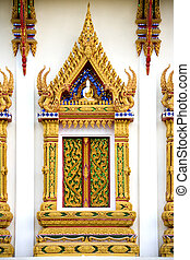 Thai Buddhist Temple Window - Ornate Thai Buddhist temple...