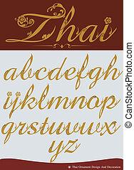 Thai Calligraphic Alphabet. Vector