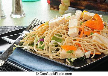 Thai chicken salad close up