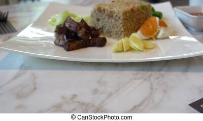 Thai chilli paste fried rice with vegetable.