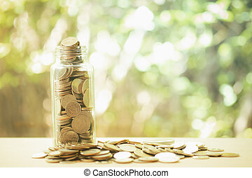 Thai coin in glass bottle. Copy space for your text