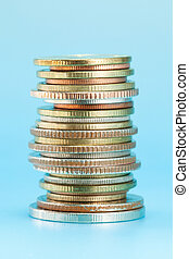 Thai coins arranged in stack