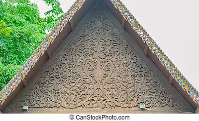 Thai craved wood gable