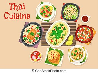 Thai cuisine dinner with asian dishes icon - Thai cuisine...