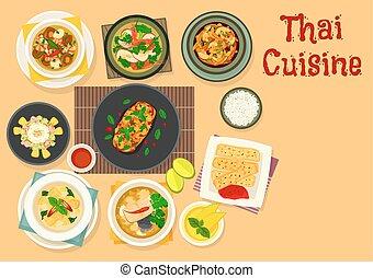 Thai cuisine dinner with fruit dessert icon design - Thai...