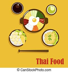 Thai cuisine dishes and sauces - Individual dishes of thai...