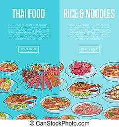 Thai cuisine flyers with asian dishes - Thai cuisine flyers...