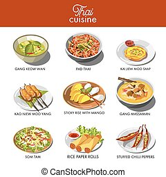Thai cuisine food and traditional dishes of gang keow wan,...