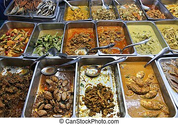 Food market in Bangkok, Thailand. All you can eat buffet choice.