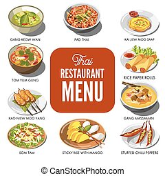 Thai cuisine food traditional dish vector icons for Thailand...