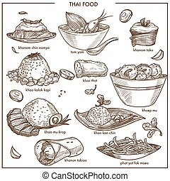 Thai cuisine food vector sketch dishes icons for restaurant...