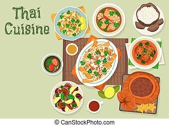 Thai cuisine icon for spicy asian food design - Thai cuisine...