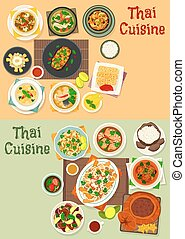 Thai cuisine icon set for tasty asian food design - Thai...