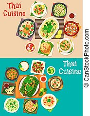 Thai cuisine icon set with traditional asian food - Thai...