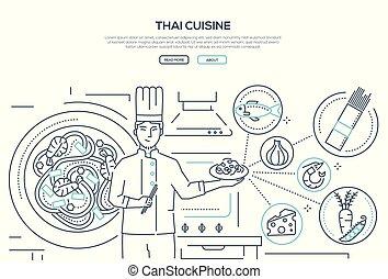 Thai cuisine - line design style banner on white background...