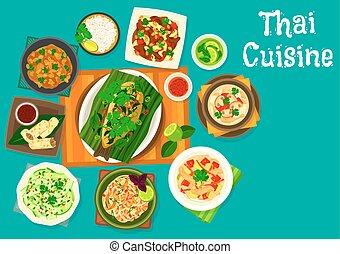 Thai cuisine lunch icon for restaurant menu design - Thai...