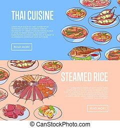 Thai cuisine restaurant flyers with asian dishes - Thai...